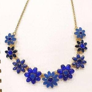 Kate Spade Blue Flower Gold Statement Necklace